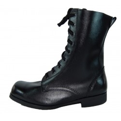 Chrome leather army boots