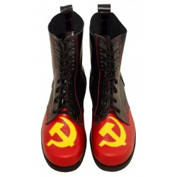 Hammer Sickle Retro Style Combat Boots